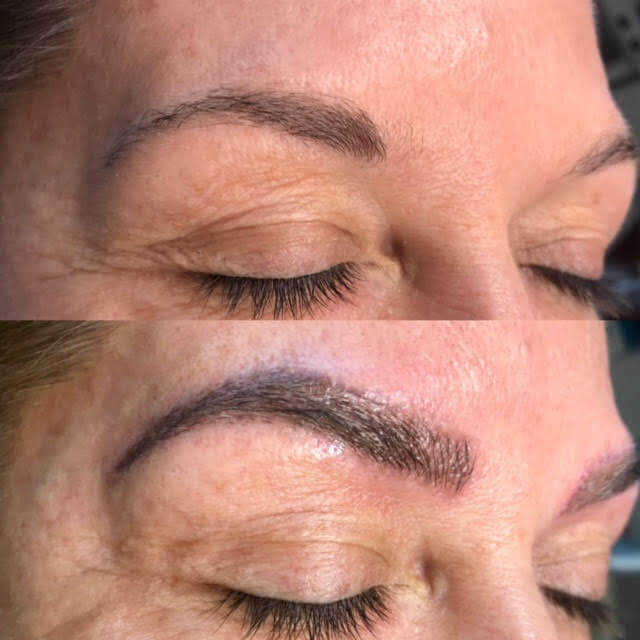 Before and after for microbladed brows in North Austin